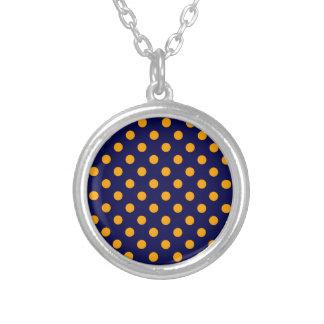 Polka Dots Large - Orange on Dark Blue Custom Necklace