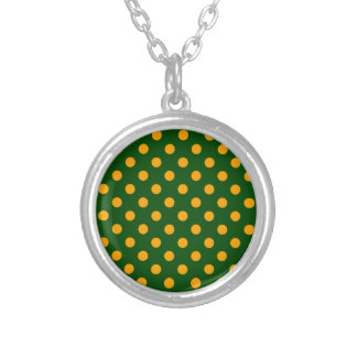Polka Dots Large - Orange on Dark Green Personalized Necklace