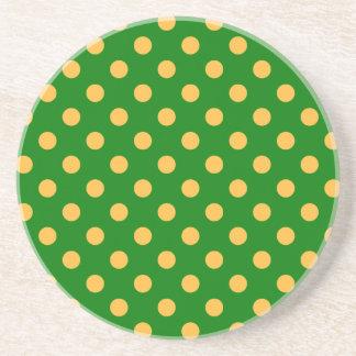 Polka Dots Large - Orange on Green Beverage Coasters