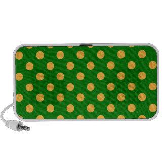 Polka Dots Large - Orange on Green Notebook Speakers