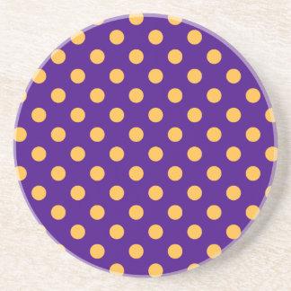 Polka Dots Large - Orange on Violet Drink Coaster