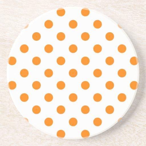 Polka Dots Large - Orange on White Drink Coaster
