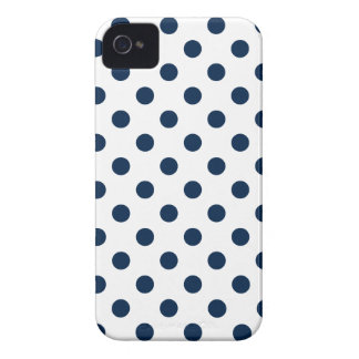 Polka Dots Large - Oxford Blue on White iPhone 4 Case-Mate Cases