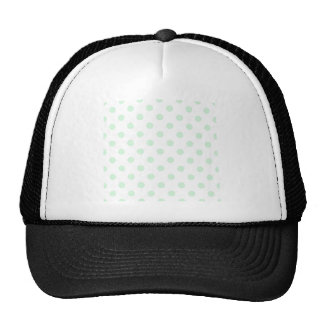 Polka Dots Large - Pastel Green on White Mesh Hats