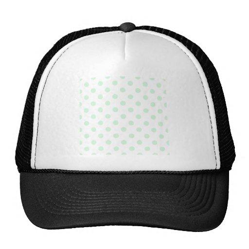 Polka Dots Large - Pastel Green on White Mesh Hats