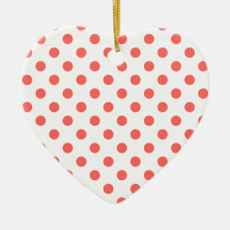Polka Dots Large - Pastel Red on White Ceramic Heart Decoration
