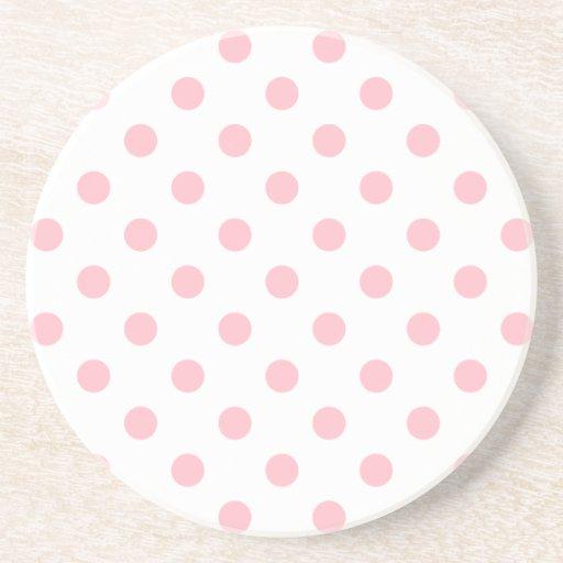 Polka Dots Large - Pink on White Coaster
