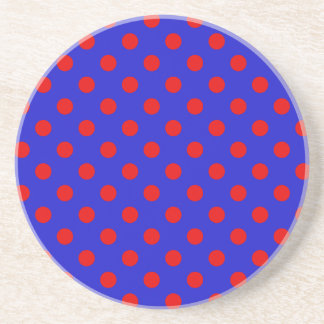 Polka Dots Large - Red on Blue Coaster