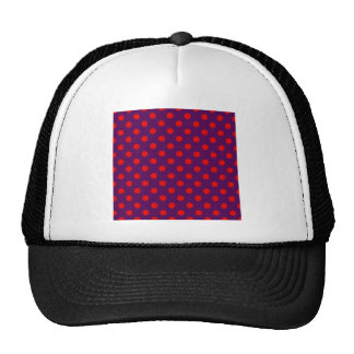 Polka Dots Large - Red on Violet Mesh Hats
