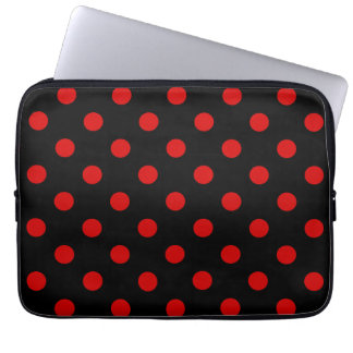 Polka Dots Large - Rosso Corsa on Black Laptop Computer Sleeve