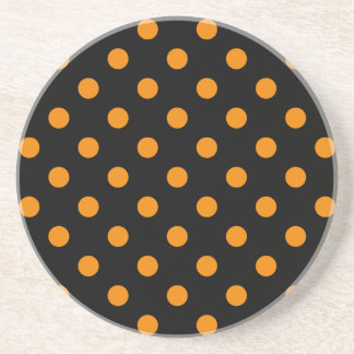 Polka Dots Large - Tangerine on Black Drink Coaster