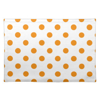 Polka Dots Large - Tangerine on White Placemats