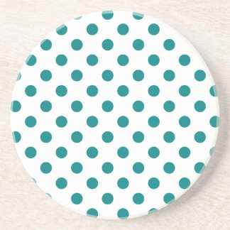 Polka Dots Large - Teal on White Beverage Coasters