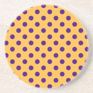 Polka Dots Large - Violet on Orange Beverage Coaster