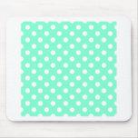 Polka Dots Large - White on Aquamarine Mouse Pad