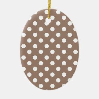 Polka Dots Large - White on Beaver Ceramic Oval Decoration