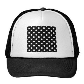 Polka Dots Large - White on Black Mesh Hat