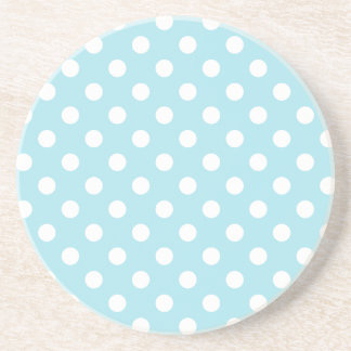 Polka Dots Large - White on Blizzard Blue Coaster