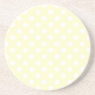 Polka Dots Large - White on Cream Coaster