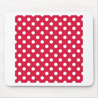 Polka Dots Large - White on Crimson Mousepad