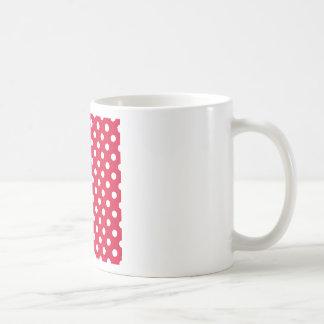 Polka Dots Large - White on Crimson Mug