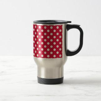 Polka Dots Large - White on Crimson Stainless Steel Travel Mug