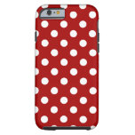 Polka Dots Large - White on Dark Candy Red