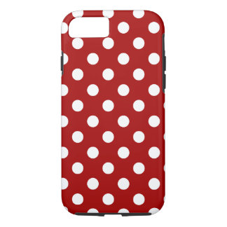 Polka Dots Large - White on Dark Candy Red iPhone 8/7 Case