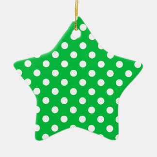 Polka Dots Large - White on Dark Pastel Green Ceramic Star Decoration