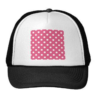 Polka Dots Large - White on Dark Pink Mesh Hats