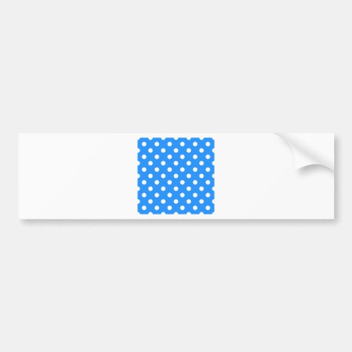 Polka Dots Large - White on Dodger Blue Bumper Stickers