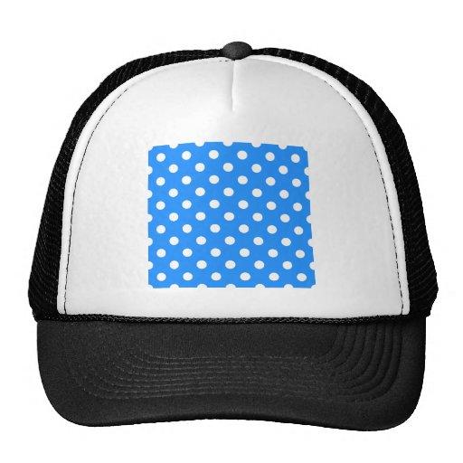 Polka Dots Large - White on Dodger Blue Mesh Hat