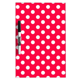 Polka Dots Large - White on Electric Crimson Dry Erase White Board