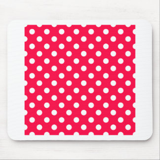 Polka Dots Large - White on Electric Crimson Mouse Pad