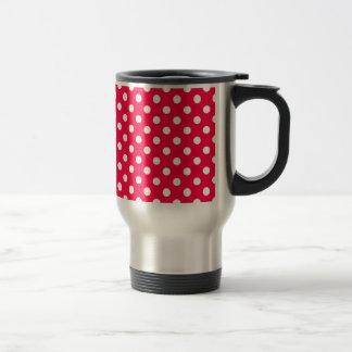 Polka Dots Large - White on Electric Crimson Mugs