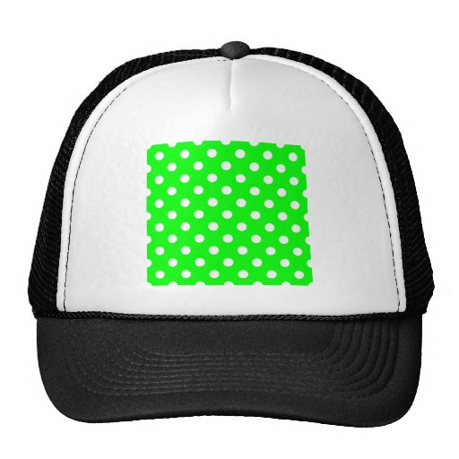 Polka Dots Large - White on Electric Green Trucker Hats