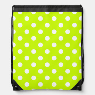 Polka Dots Large - White on Fluorescent Yellow Cinch Bag