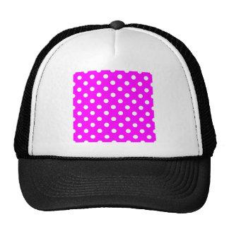 Polka Dots Large - White on Fuchsia Trucker Hat