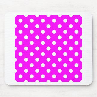 Polka Dots Large - White on Fuchsia Mousepads
