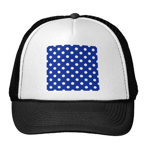 Polka Dots Large - White on Imperial Blue Trucker Hat