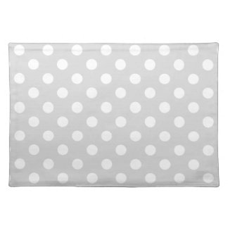 Polka Dots Large - White on Light Gray Place Mats