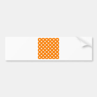 Polka Dots Large - White on Orange Bumper Stickers