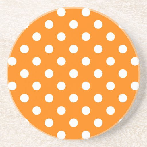 Polka Dots Large - White on Orange Coaster