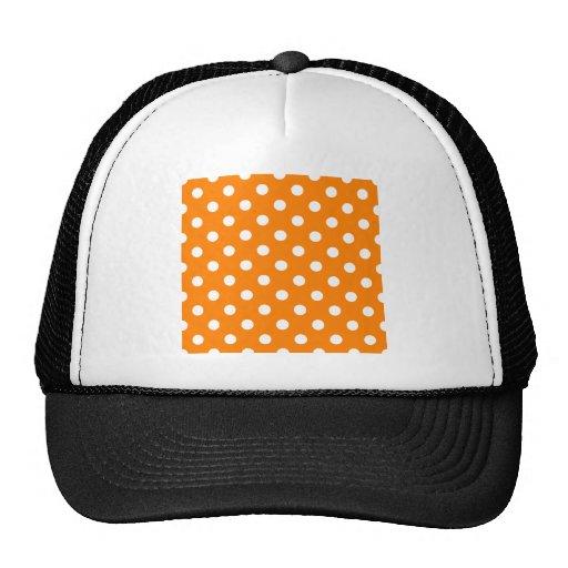 Polka Dots Large - White on Orange Mesh Hat