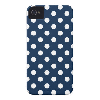 Polka Dots Large - White on Oxford Blue iPhone 4 Cover