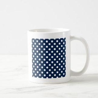 Polka Dots Large - White on Oxford Blue Coffee Mugs
