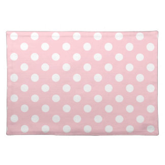 Polka Dots Large - White on Pink Place Mats