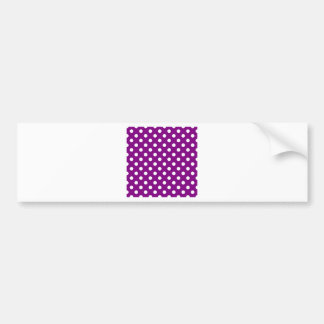 Polka Dots Large - White on Purple Bumper Stickers