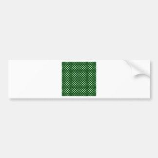 Polka Dots - Light Blue on Dark Green Bumper Stickers