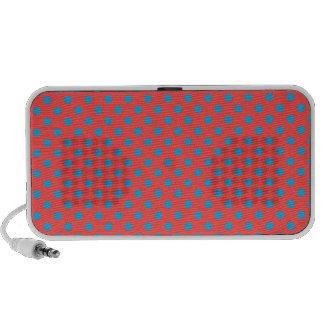 Polka Dots - Light Blue on Light Red Travel Speaker